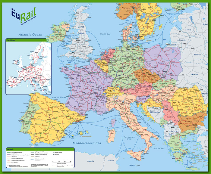 EuRail Map 2012 for Camping and Backpacking